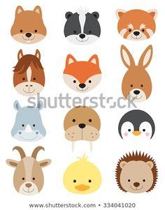 Vector illustration of animal faces including squirrel, hamster, skunk, red… Animal Heads, Animal Faces, Woodland Creatures, Woodland Animals, Safari Animals, Felt Animals, Cute Animals, Face Illustration, Hedgehog Illustration