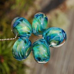 Pefectly Gorgeous  Set of 5 Encased Lampwork Beads  Dan by koregon, $15.00