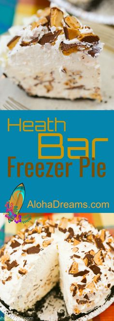 In less then 15 minutes you can have this delicious easy, make ahead dessert in the freezer waiting. Heath Bar Recipes, Heath Desserts, Heath Bar Dessert, Ice Cream Desserts, Pie Dessert, Freezer Desserts, Make Ahead Desserts, No Bake Desserts, Delicious Desserts