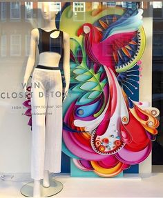 "WOLFORD BOUTIQUE, ""Be a Parrot in a flock of Pigeons"", photo by Allesandro Trevisan, pinned by Ton van der Veer Store Window Displays, Craft Show Displays, Clothing Displays, Store Windows, Window Design, Retail Design, Shops, Visual Merchandising, Event Decor"