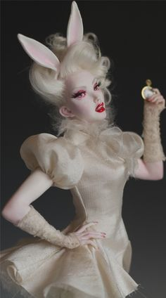 THE WHITE RABBIT - ALICE IN WONDERLAND ooak polymer sculpture by Nicole West