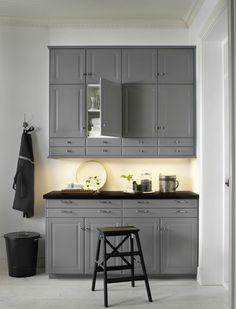 Gray Cabinets Black Counters Slate Herringbone Floor