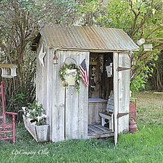 Cute old shed- Have one down south...Am always looking for new ideas to make it special ...