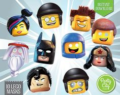 Lego Costume Masks  Printable Party Favor  Lego by Partycityprints