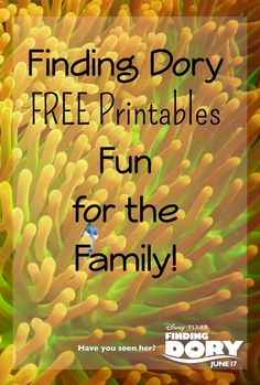 Who else is super excited for Finding Dory to come out in theaters in June? In the meantime print up and have fun with these FREE printables!