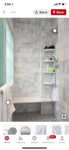 Gray floor and shower curb Main bathroom ideas Pinterest Gray