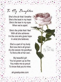 Happy Birthday Wishes For Daughter From Mom And Dad Birthday Poems For Daughter Birthday Poems. Birthday Quotes For Daughter Birthday Quotes. My Children Quotes, Quotes For Kids, Family Quotes, Life Quotes, Son Quotes, Child Quotes, Nephew Quotes, Chance Quotes, Cousin Quotes