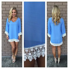 Blue Allison Crochet Long Sleeve Dress | Dainty Hooligan Boutique