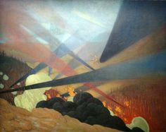 Félix Édouard Vallotton - Verdun. Tableau de guerre interprêté projections colorées noires bleues et rouges terrains dévastés, nuées de gaz, 1917.