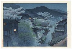 """Spring Evening in Komoro"" by Shinsui Ito (1888 - 1972); Japanese woodblock print. . . We've just added a beautiful group of shin-hanga prints to the website, opening at just $89 bid only! #japan #japanese #art #ukiyoe #shinhanga"