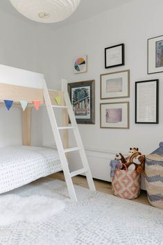A bunk room is located at the end of the hallway, in the former office. #dwell #beforeandafter #homerenovations #kidsroom