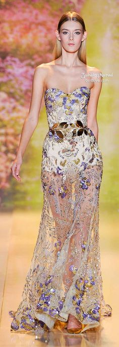 Lavender and Gold Floral Lace Dress With Sequins and Gold Belt. Zuhair Murad Spring 2014 Haute Couture