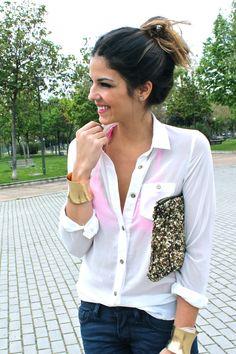 sparkly clutch, white shirt