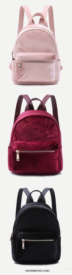 43151e4bc47f We re seriously crushing on the Mini Metallic Zip Velvet Backpack! Features  a velvet