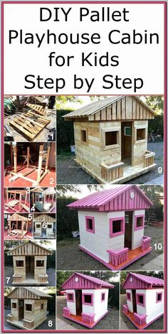 Now reshape the useless boards of wood pallets and craft a useful attractive project on your own. This DIY pallets playhouse cabin is a simple project that anyone can easily craft with the given instructions and step by step pictures in this post. Pallet Playhouse, Build A Playhouse, Playhouse Outdoor, Simple Playhouse, Childrens Playhouse, Diy Pallet Projects, Outdoor Projects, Pallet Kids, Easy Projects