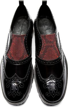 Christopher Kane: Black Leather Slip-On Brogues Fly Shoes, Men's Shoes, Shoe Boots, Dress Shoes, Leather Lace Up Boots, Leather Slip Ons, Black Leather, Brogues, Loafers Men