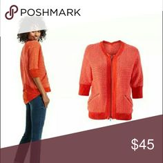 NWOT CAbi Cocoon Sweater #195 This CAbi sweater is gorgeous! Look at these beautiful shades of orange.   This sweater is NWOT. Pair this with your favorite skinny jeans for Casual Friday. Then add your favorite statement necklace and pencil skirt and head out for Happy Hour with your girlfriends!   This sweater is style #195.   100% cotton CAbi Tops