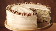 Maple-Walnut Cake with Brown-Sugar Frosting - Walnuts add a nutty dimension to this rich, decadent cake that's perfect for any fall occasion. Cakes To Make, How To Make Frosting, How To Make Cake, Frosting Recipes, Cake Recipes, Dessert Recipes, Round Cake Pans, Round Cakes, Brown Sugar Frosting