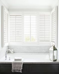 Dream of beautiful windows with the help of our Inspiration and Idea Gallery! White Shutters, Interior Shutters, Modern Rustic, Mid-century Modern, Smith And Noble, Beautiful Bathrooms, Ideal Home, Window Treatments, The Help