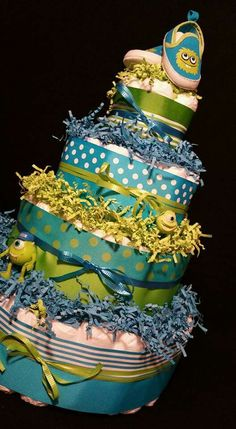 Green & Blue Monsters Inc. Diaper Cake  from: www.tiersofjoydiapercakes.com  $75.00