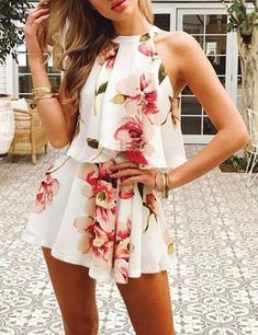 Summer Sexy Halter Sets For Women Off Shoulder Floral Printed Chiffon Two Pieces Beach Sets Crop Tops and Shorts Casual Suits Boho Jumpsuit, Boho Romper, Floral Playsuit, Bodycon Jumpsuit, Denim Romper, Jumpsuit Outfit, Mini Dresses For Women, Summer Outfits Women, Vestidos
