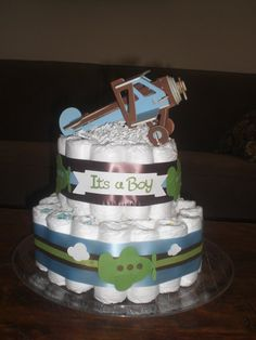 Airplane Diaper Cake baby shower by bearbottomdiapercakes on Etsy