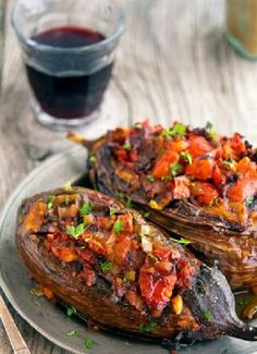 Low FODMAP & Gluten free Recipe - Stuffed eggplant with quinoa and tomatoes  http://www.ibssano.com/low_fodmap_recipe_quinoa_tomatoes.html