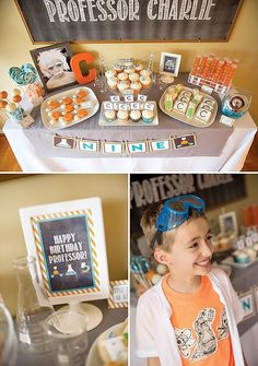 Cool Chemistry Inspired Science Party {9th Birthday} with test tube cookies, chalkboard dessert table backdrop, silly lab experiments and beakers with candy.