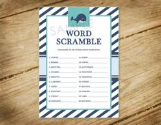 Little Squirt / Whale / Nautical Theme Matching Baby Shower Game - Word Scramble - Printable Instant Download