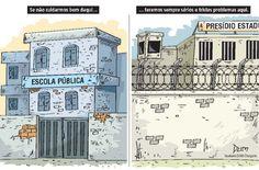 Charge de opinião do Dum traçando um paralelo sobre a violência nos presídios com o sucateamento das escolas públicas (08/01/2017) #Charge #Dum #Presídio #Violência #Rebelião #Cadeia #Escola #EscolaPública #Educação #HojeEmDia
