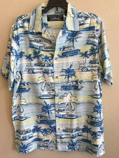 ced5f734 Newport Blue Men's Size Medium Shirt Hawaiian 1950s Wagons Palm Trees Cars  #NewportBlue #ButtonFront