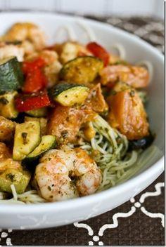 Shrimp, Zucchini & Pesto Angel Hair Pasta