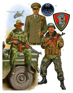 "Spetsnaz - Johnny Shumate Spetsnaz following the dissolution of the USSR (1) Spetsnaz operator, Tajikistan, 1992. (2) Captain, Moscow, 2006. (2a) GRU insignia. (2b) Example of unofficial Spetsnaz insignia. (3) Spetsnaz ""peacekeeper,"" Transnistria (Moldova), 1992."