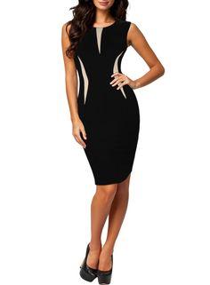 MIUSOL® Damen Elegant Ärmellos Etuikleid Business Stretch Kleid Abendkleid, Schwarz Gr.34-46: Amazon.de: Bekleidung