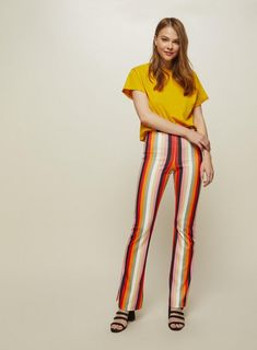 Bright Pink Stripe Kickflare Trousers - Miss Selfridge Pink Stripes, Rolling Stones, Be Perfect, Bright Pink, Trousers, Jumpsuit, Rainbow, Carousel, Color