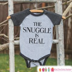 The Snuggle Is Real Baby Onepiece - Grey Raglan Onepiece - Funny Quote Outfit - Coordinating Family Outfits - Baby Shower Gift Idea