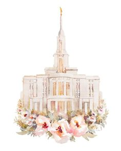 Payson Temple Watercolor Painting - A beautiful watercolor painting of the Payson Utah Temple. Payson Temple, Payson Utah, Utah Temples, Lds Temples, Floral Watercolor, Watercolor Paintings, Watercolor Projects, Watercolours, Arte Lds