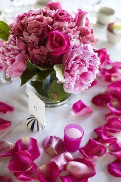 Pink votives/petals/florals.