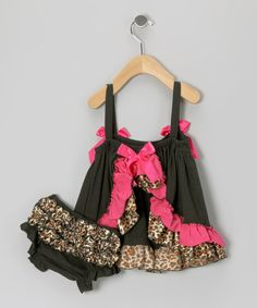 Take a look at this Black Cheetah Swing Top & Ruffle Diaper Cover - Infant by Under The Hooded Towels on #zulily today!