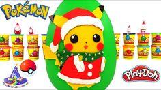 Huevo Sorpresa Gigante de Pikachu de Navidad o Santa Pikachu de Plastili...