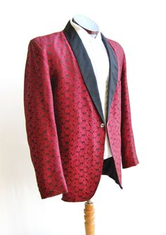 1950's Red Brocade Tuxedo Smoking Jacket