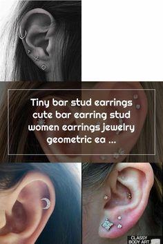 Double Cartilage Piercing Tiny bar stud earrings cute bar earring stud women earrings jewelry geometric earrings statement stud Double Cartilage Piercing Double Cartilage Piercing, Fake Piercing, Ear Piercings, Bar Stud Earrings, Statement Earrings, Geometric Jewelry, Sterling Silver Earrings, Earrings, Ears Piercing