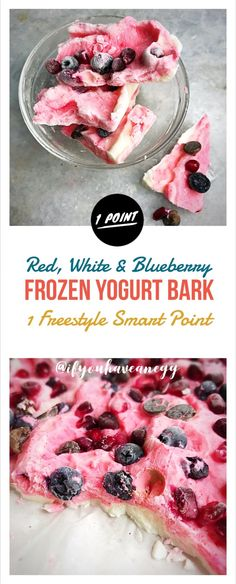 Red, White & Blueberry Frozen Yogurt Bark: only 1 Freestyle Smart Point per serving! . #weightwatchers #weightlossrecipes #weightlossdiet #easyrecipe #ifyouhaveanegg