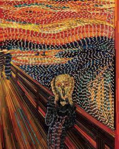 Kleurpotloden... zo kan het ook.  De schreeuw van Edvard Munch samengesteld uit vele kleurpotloden.