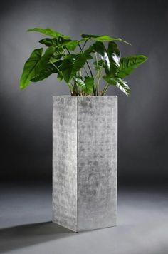 "Blumenkübel Pflanzkübel Fiberglas ""Block"" 82 cm, Silber Hochglanz"