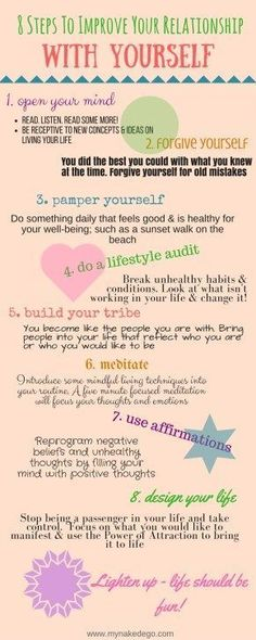 8 Steps to Improve Your Relationship with Yourself- Self Help and Self improvement tips and ideas Healthy Mind, Brain Healthy Foods, Brain Food, Self Development, Personal Development, Self Help, Self Care, Reiki, Happy Life