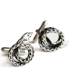 Silver Snake Cuff Links