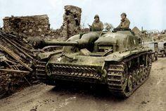 Sturmgeschütz StuG III Ausf.G (Sd.Kfz. 142/1- 7.5cm StuK L/48) captured during January-February 1945 in the 'Battle of the Bulge' by the US 104th Infantry Division. #StuG