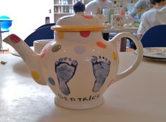 2 Cup Teapot with footprints. Perfect pressie!