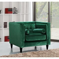 Roberta W Club Chair Upholstery Color: Emerald Green Green Velvet Fabric, Meridian Furniture, Velvet Armchair, Velvet Pillows, Velvet Chairs, Small Accent Chairs, Chair Fabric, Chair Upholstery, Chesterfield